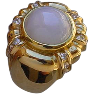 Gents 18K Gold Ring Set w/ 16 Carat Star Sapphire & Diamonds.