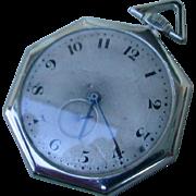 Vintage Platinum Octagonal Shaped Longines Pocket Watch.