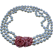 Beautiful Large Carved Coral And 3 Strands Pearls Necklace 15 Inch.