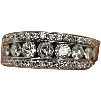 Estate 14KT White Gold Diamond Band Ring 1 CTW size 6 3/4