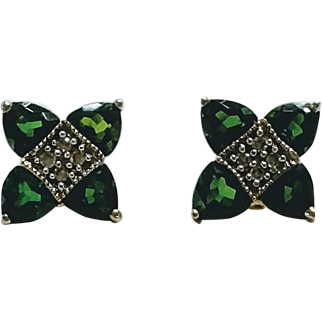 Green Tourmaline and Diamond Post Earrings