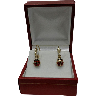 Lady Bug 14kt Gold Enamel Leverback Earrings