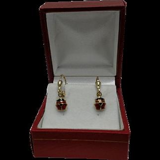Lady Bug 14kt Gold Enamel Leverback Earrings