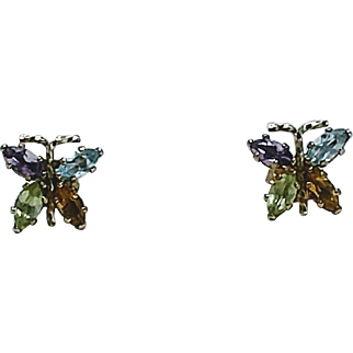 Multi Gemstone Butterfly Post Earrings 14KT Yellow Gold