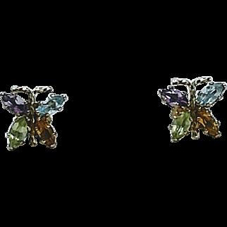 Multi Gemstone Butterfly Post Earrings 14KT Yellow Gold