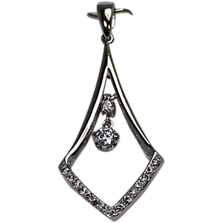 White Gold Triangle Drop Dangle Diamond Pendant