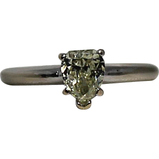 Beautiful .75 ct Fancy Light Yellow Pear Shaped Diamond Solitaire