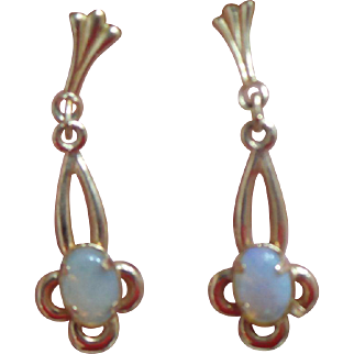 Dainty Opal Dangle Earrings in 14KT Yellow Gold