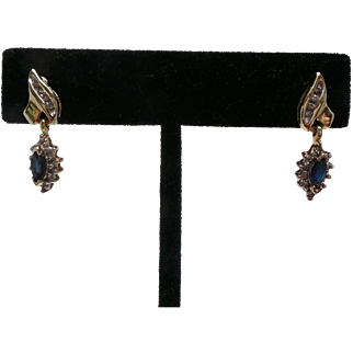Lovely Vintage Blue Sapphire and Diamond Dangle Earrings  14KT Yellow Gold