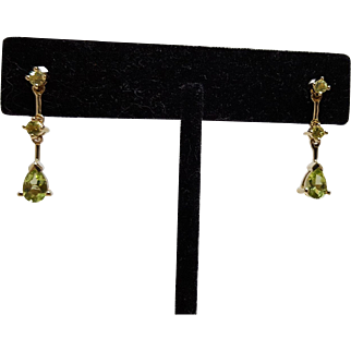 Vintage Peridot Dangle Earrings 14KT Yellow Gold
