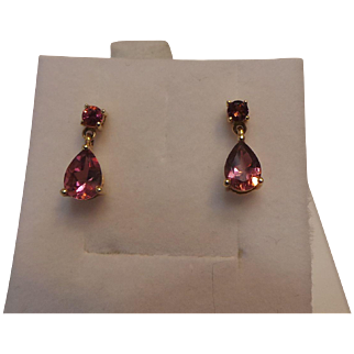 Vintage Pink Tourmaline 14kt Yellow Gold Dangle Earrings