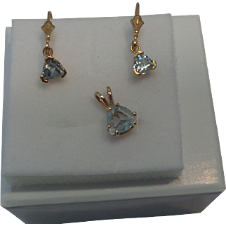 Beautiful Blue Topaz Leverback Earrings and Pendant Set