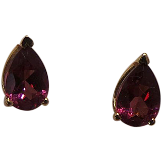 Sweet Pink Tourmaline Pear Shaped 14KT Yellow Gold Post Earrings
