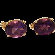 4 CTW Deep Violet Amethyst Oval Earrings 14KT