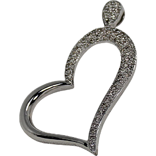 Estate White Gold Diamond Heart Pendant