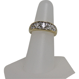 1 CTW Marquis and Baguette Diamond Band Ring 14 Yellow Gold Size 7