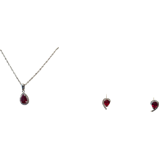 Vintage Ruby and Diamond Pendant and Earrings Set