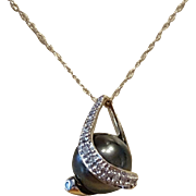 10 MM Black Cultured Pearl and Diamond Pendant with Chain