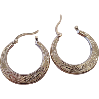 Carla Scroll Design White Gold Hoops
