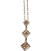 3 Stone Diamond Pendent with 18inch Chain