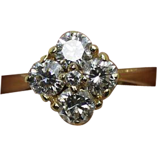 5 Stone Cluster Diamond Yellow Gold Ring .84ctw