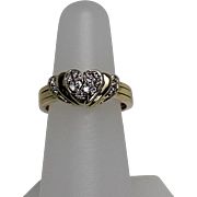 Surprise! Lovely Hinged Diamond and Ruby Heart Gimmel Ring