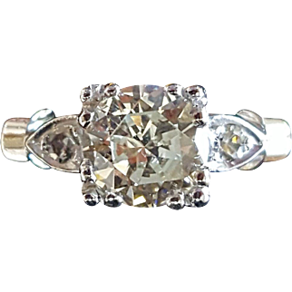 Vintage 3 Stone Diamond Ring in Platinum .90CT Center Size 8