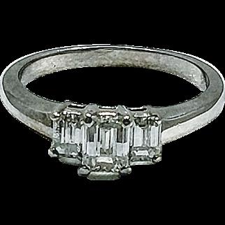 Beautiful Emerald Cut 3  Stone Diamond Ring  .80CTW Size 6 3/4