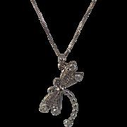 Diamond DragonFly .65 CTW + Diamond and Tanzanite Pendant 14 KT White Gold