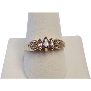 Vintage Light Purple Amethyst Marquis Ring, Size 7 1/2