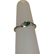 Heart Shaped Emerald and Diamond Ring 14 KT WG