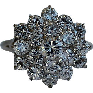 Bold Vintage Diamond Cluster Cocktail Ring 3.25 CTW 14kt White Gold Size 7
