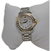 Estate Movado Two Tone Diamond Watch Stainless Steel