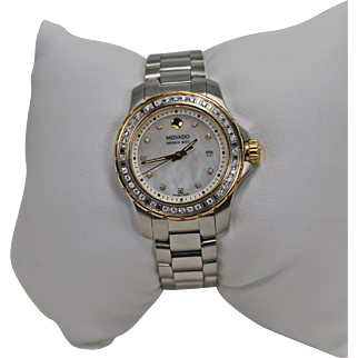 Movado Two Tone Diamond Watch Stainless Steel