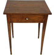 19th C. French Inlaid Walnut Single Drawer Side Table