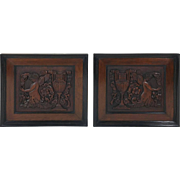 Pair of 19th C. Carved Walnut Framed Panels