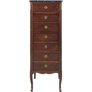 Late 19th C. French Walnut Slender 7 Drawer Chest