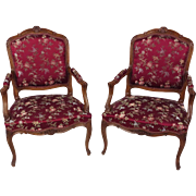 Pair of Early 20th C. French Carved Walnut Fauteuils