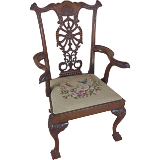 Edwardian Chippendale Style Carved Elbow Chair
