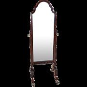 Edwardian Carved Mahogany Framed Cheval Dressing Mirror