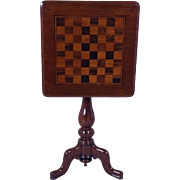 Victorian Mahogany Tilt Top Chess Table on a Tripod Support