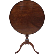 18th C. Mahogany Dish Top Circular Tilt Top Wine Table