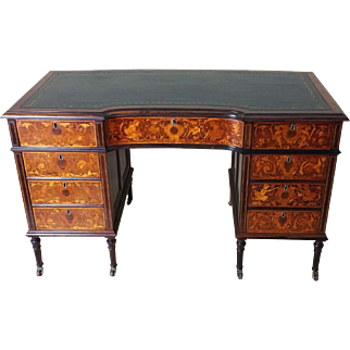 Victorian Marquetry Inlaid Rosewood Shaped Front Kneehole Desk