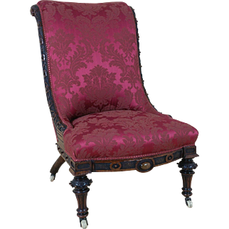 Victorian Carved Walnut Ladies Upholstered Chair