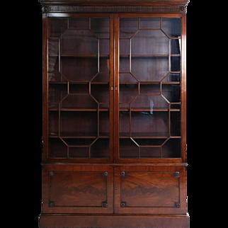 Fine George III Style Mahogany Astragal Glazed Slim Bookcase