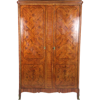 French Marquetry Inlaid Walnut 2 Door Armoire with Ormolu Mounts