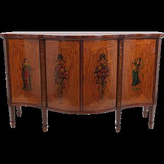 Superb 19th C. Satinwood Serpentine Fronted 4 Door Side Cabinet
