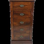 Victorian Walnut 5 Drawer Pedestal Chest