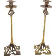 Pair of Art Nouveau 19th C. Brass Candlesticks
