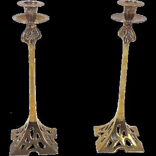 Pair of Art Nouveau 19th C. Brass Candlesticks